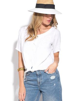 100% LIN Shirt, Kurzarm, Rundhals weiß