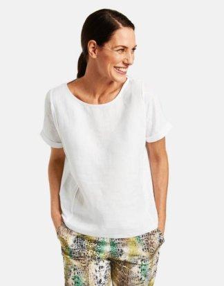 1/2 Arm Shirt aus reinem Leinen Weiss 36/S