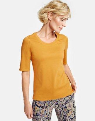 1/2 Arm Shirt aus reiner Baumwolle Gelb 46/L