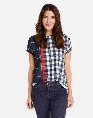 1/2 Arm Shirt mit überschnittener Schulter Blau 48/XL