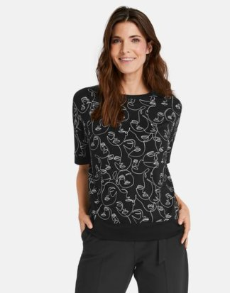1/2 Arm Shirt mit Face Print Schwarz 36/S