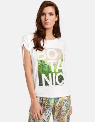 1/2 Arm Shirt mit Floralprint Weiss 36/S