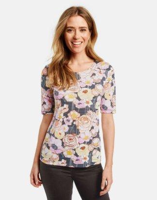 1/2 Arm Shirt mit Flowerdessin Mehrfarbig 36/S