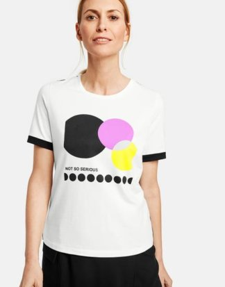 1/2 Arm Shirt mit Frontdruck Weiss 36/S