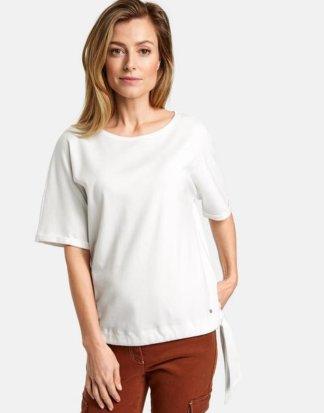 1/2 Arm Shirt mit Saumband Weiss 36/S