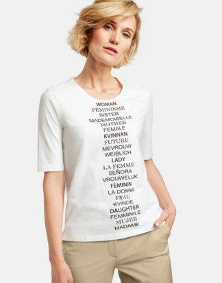 1/2 Arm Shirt mit Schriftzug Weiss 36/S
