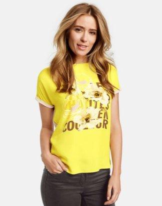 1/2 Arm Shirt mit floralem Print Gelb 46/L