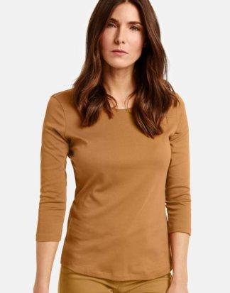3/4 Arm Basic Shirt Braun 48/XL