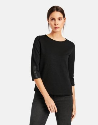 3/4 Arm Shirt aus Struktur-Jersey Schwarz M