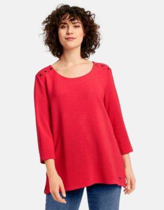 3/4 Arm Shirt aus Struktur-Qualität Rot 40/42