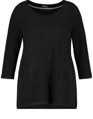 3/4 Arm Shirt aus Struktur-Qualität Schwarz 40/42