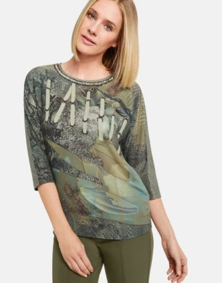 3/4 Arm Shirt im Material-Mix Grün XS