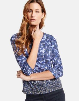 3/4 Arm Shirt mit Alloverprint Blau 36/S