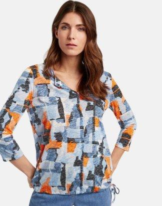 3/4 Arm Shirt mit Art Camouflage Blau 38/S