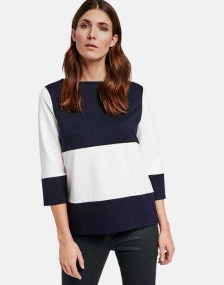 3/4 Arm Shirt mit Blockstreifen Blau 36/S