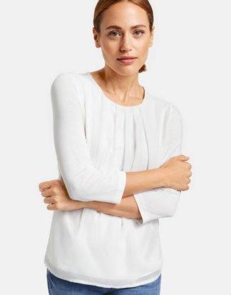 3/4 Arm Shirt mit Chiffon Weiß 38/S