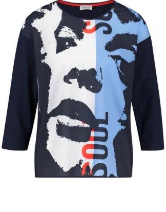 3/4 Arm Shirt mit Face-Print Blau 36/S