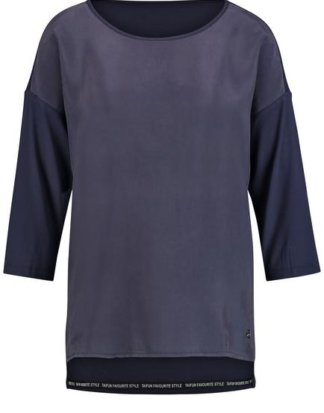 3/4 Arm Shirt mit Material-Mix Blau XS