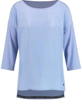 3/4 Arm Shirt mit Material-Mix Blau XXS