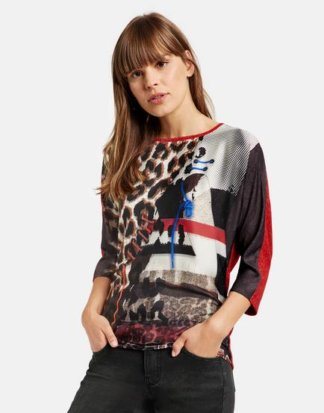 3/4 Arm Shirt mit Material-Mix Rot S
