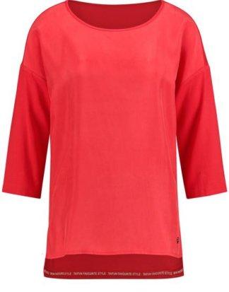 3/4 Arm Shirt mit Material-Mix Rot XXS
