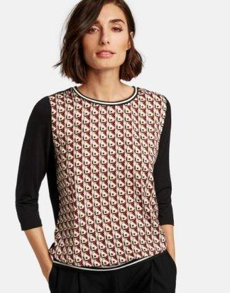 3/4 Arm Shirt mit Satin-Front Mehrfarbig XXS