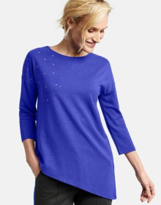 3/4 Arm Shirt mit asymmetrischem Saum Blau 36/S
