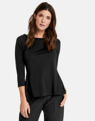 3/4 Arm Shirt mit ausgestelltem Rückenteil Schwarz 36/S
