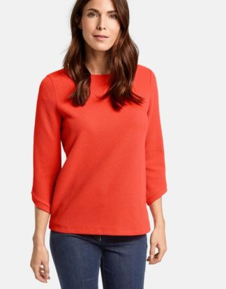 3/4 Arm Shirt mit großem Ausschnitt Rot 36/S