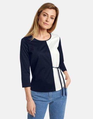 3/4 Arm Shirt mit seitlicher Schnürung Blau 36/S