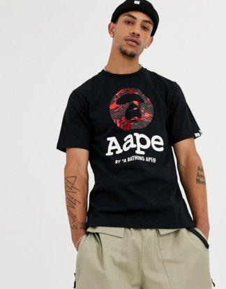 AAPE By A Bathing Ape - Schwarzes T-Shirt mit rotem Folienprint