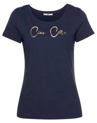 AJC T-Shirt goldener Print & Zierknöpfe aus der Schulter