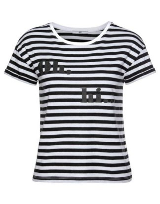 AJC T-Shirt in Boxy-Form mit angesagten Streifen & Druck