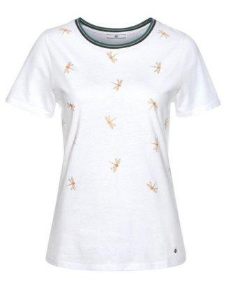 AJC T-Shirt mit Allover-Libellen-Print & gestreifter Rippkante mit Metalliceffekt