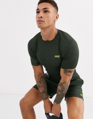 ASOS 4505 - Khaki Muskel-Training-T-Shirt mit Quick-Dry-Finish-Grün