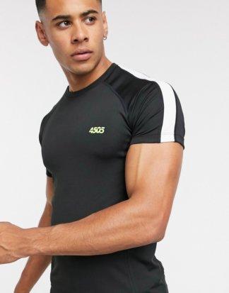ASOS 4505 - Muskel-T-Shirt mit Kontrasteinsatz-Weiß