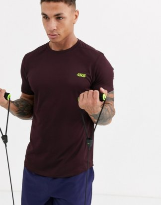 ASOS 4505 - Schnelltrocknendes Training-T-Shirt in Burgunder-Rot