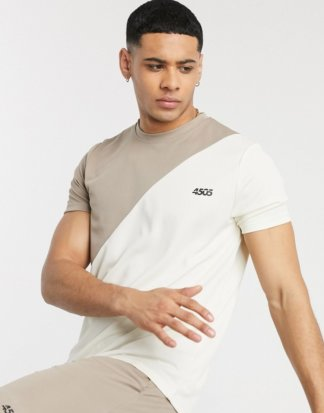 ASOS 4505 - Trainings-T-Shirt mit Kontrasteinsatz-Beige