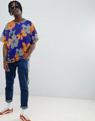 ASOS DESIGN - Übergroßes T-Shirt mit durchgehendem, geblümten Netzstoff und Rippdetail-Mehrfarbig