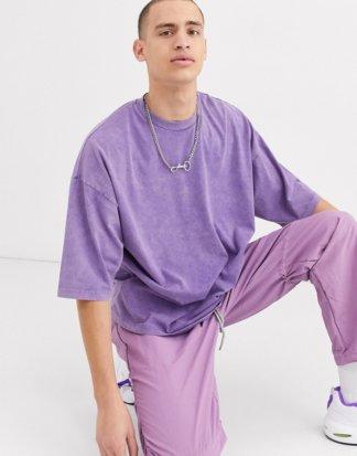 ASOS DESIGN - Übergroßes T-Shirt mit halblangen Ärmeln und Acid-Waschung in Violett