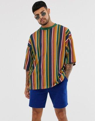 ASOS DESIGN - Übergroßes T-Shirt mit vertikalen Retro-Streifen-Mehrfarbig