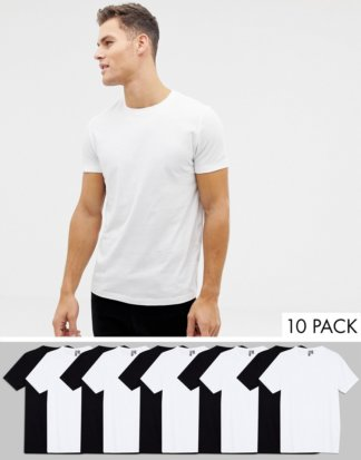 ASOS DESIGN - 10er Packung T-Shirts aus Bio-Baumwolle mit Rundhalsausschnitt - SPAREN MIT MULTIPACK!-Mehrfarbig