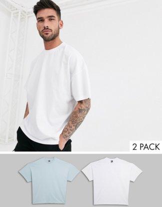 ASOS DESIGN - 2er Packung übergroße T-Shirts mit Rundhalsausschnitt - JETZT SPAREN!-Mehrfarbig