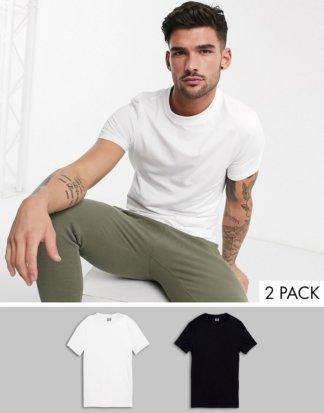 ASOS DESIGN - 2er Packung Muskel-T-Shirts aus Bio-Baumwolle mit Rundhalsausschnitt - JETZT SPAREN!-Mehrfarbig