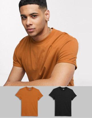ASOS DESIGN - 2er Packung T-Shirts mit Rollärmeln - GÜNSTIGER IM MULTIPACK!-Mehrfarbig