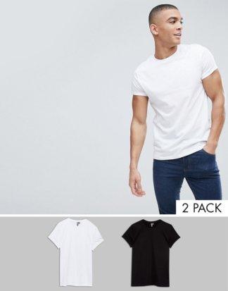 ASOS DESIGN - 2er Packung T-Shirts mit Rundhalsausschnitt und Rollärmeln - ZUM MULTIPACK-SPARPREIS!-Mehrfarbig
