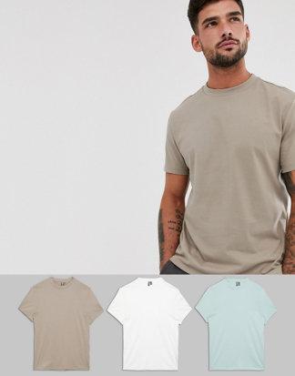 ASOS DESIGN - 3er Pack t-Shirts mit Rundhalsausschnitt, spare-Mehrfarbig