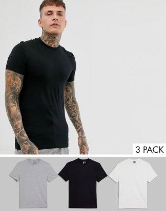 ASOS DESIGN - 3er Packung Muskel-T-Shirts mit Rundhalsausschnitt - GÜNSTIGER IM MULTIPACK!-Mehrfarbig