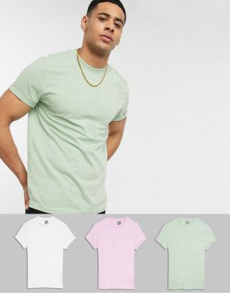 ASOS DESIGN - 3er Packung T-Shirts mit Rundhalsausschnitt und Rollärmeln - SPAREN!-Mehrfarbig