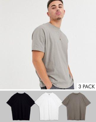ASOS DESIGN - 3er-Set legere T-Shirts aus Bio-Baumwolle mit Rundhalsausschnitt, Rabatt-Mehrfarbig